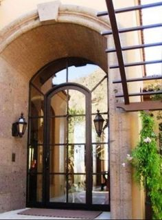Small Profile-225 - Wrought Iron Doors, Windows, Gates, & Railings from Cantera Doors.  Front door w/out the curved top gallery.