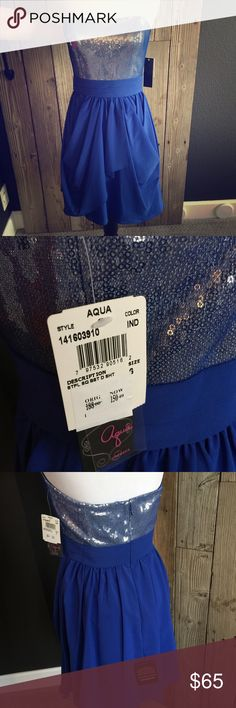 Aqua Cocktail Dress Gorgeous royal blue cocktail dress in size 6 from Bloomingdales. Brand new, never worn with tags attached. Strapless with inside corset hook and eyes to keep it in place. Aqua Dresses Strapless