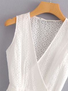 Eyelet Embroidered Wrap Blouse | SHEIN Wrap Blouse, Blouse Online, Summer Outfits, Couture, Tank Tops, Womens Fashion, Clothes, Summer Clothing, Shoes