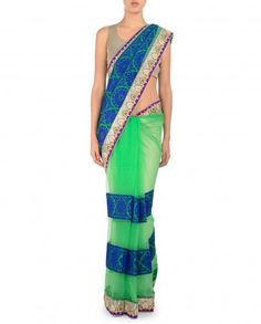 Fern Green Sari with Embroidered Blue Pallu
