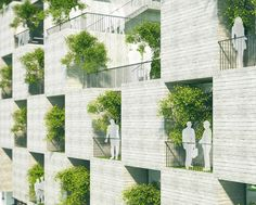 University building featuring a facade of concrete slabs and tree-filled balconies.