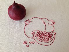 Pomegranate Kitchen Toewl Redwork Hand by DanasBigSister on Etsy