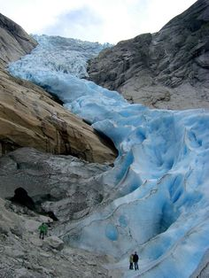 """Briksdal Glacier, Norway, found via The World Geography - """"Briksdalsbreen or Briksdal glacier is one of the most accessible and best known arms of the Jostedalsbreen glacier. It is located in Norway and is part of Jostedalsbreen National Park. Briksdalsbreen terminates in a small glacial lake, Briksdalsbrevatnet, which lies 346 metres (1,135 ft) above sea level."""""""