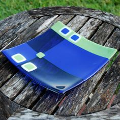 Lime and Cobalt Blue Fused Glass Plate - Wedding or Housewarming Gift on Etsy, $75.00