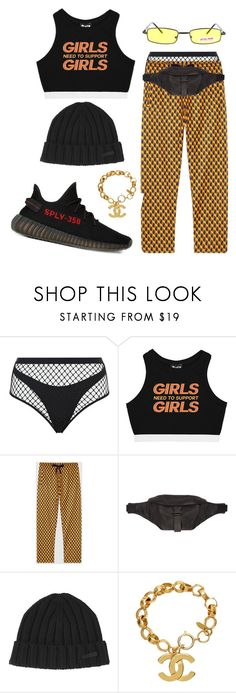 """Sem título #224"" by gothic-girly ❤ liked on Polyvore featuring Agent Provocateur, Minga, Gucci, Études, adidas, Dsquared2 and Chanel"