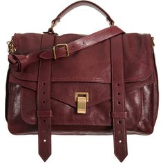 Proenza Schouler PS1 Large Leather - Burgundy (£1,595) ❤ liked on Polyvore featuring bags, handbags, purses, borse, sac, satchel handbags, leather satchel handbags, leather handbags, burgundy leather purse and red handbags