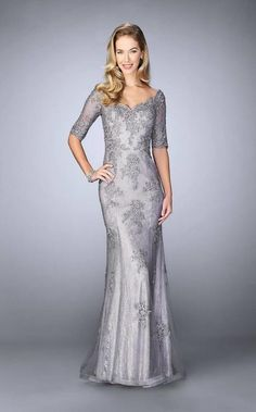 Buy the 24866 Quarter Sleeve Embroidered Evening Gown by La Femme at CoutureCandy.com, the largest selection of La Femme gowns available online.