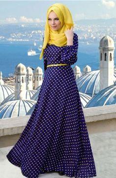 #Muslima #Wear #Yeni #Sezon 'da sizler için #Zerafet #Tesettür'de.[ Muslima Wear Puantie Desenli Kloş Elbise-Mor Sarı 259,90 TL http://bit.ly/1kzotEb #InstaSize #moda #tasarım #tesettür #giyim #fashion #ınstagram #etek #tunik #kap #kampanya #woman #alışveriş #özel #zerafet