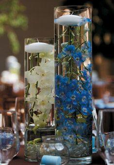 Submerged Blue and White Centerpieces | Wedding Flowers, blue delphinium with white dendrobium orchids/ wedding flowers/ www.callaraesfloralevents.com