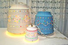 Vintage Swag Lamp. White Lawnware. Extra Large with Multi-Colored Beads. Hanging Indoor, Outdoor, or Holiday Lights. Camper RV. Glamping.