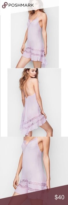 """Victoria's Secret Chiffon and Lace Slip NWT!! Victoria's Secret Chiffon and Lace Slip in lilac! Get all the frills in a slip of sheer lace and airy ruffled chiffon. Can be used also as a beach cover-up V-neck Sheer, unlined Adjustable straps Pulls on; no closure 33½"""" from shoulder; hits at mid-thigh in front Lace trim at neckline and around skirt Pleated high-low hem Imported polyester/nylon Victoria's Secret Intimates & Sleepwear Chemises & Slips"""