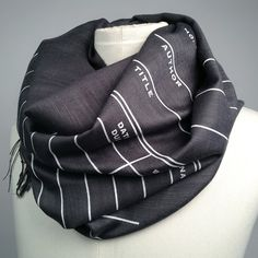 Library Due Date Card Scarf - Charcoal Grey at shanalogic.com