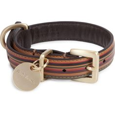Paul Smith Accessories Striped leather dog collar ❤ liked on Polyvore
