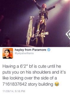 "Hayley Williams is only half a inch taller than me XD I'm 5'1"" and half inches"