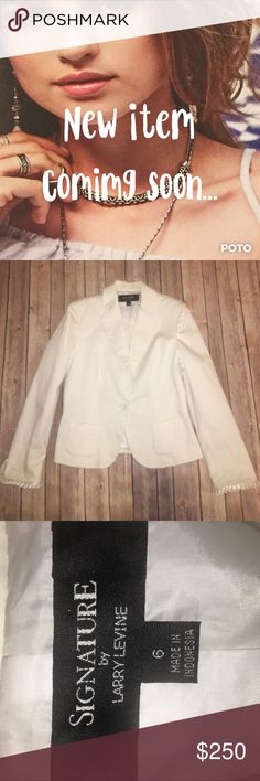 "🆕Signature By Larry Levine White Blazer Gently worn, Signature by Larry Levine, white blazer. Size 6. Cotton trill with small satin ruffle at the edge of the sleeves. One button, square front pockets and fully lined. Does not stretch. Approx. measurements bust 18"", waist 16"", shoulder to hem 22.5"", sleeve inseam sleeve inseam 16"". Please use the offer button and bundle for a discount. Thanks 💋672-1029 Signature by Larry Levine Jackets & Coats Blazers"
