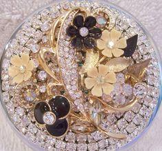 Rhinestone Compact Mirror Jeweled Compact by AveryRoseStudio