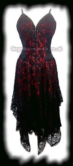 Red & Black Velvet & Lace Gothic Corset Dress