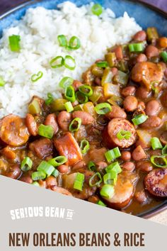 Looking to make easy red beans and rice? This New Orleans Beans & Rice recipe from Serious Bean Co. is perfect for the cook who wants big flavor without a lot of time. Pinto Beans And Rice, Rice And Beans Recipe, Red Beans, Baked Beans With Bacon, Stuffed Jalapenos With Bacon, Stuffed Peppers, Bean Recipes, Rice Recipes, Casserole Recipes