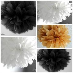Wedding Decorations, 10 Tissue Pom Poms, Black and Gold Wedding Decor,Black and White,Engagement Decor,Bridal Shower