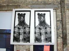 Helen's woodcut bear hanging.