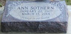 Ann Sothern grave in Ketchum, ID