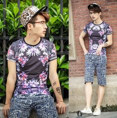 Trendy 2014 Summer Vintage Floral T-shirts Men Women Stretch Cotton Casual Fashion T-shirts $22.00