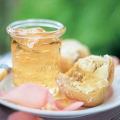 Rose Petal Jelly Recipe with water, rose petals, sugar, lemon juice, pectin, rose water