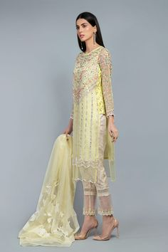 Latest Maria B Pret Stitched Summer Dresses Designs Collection consists of casual day wear & evening wear ready to wear suits in lawn, chiffon, Designer Wear, Designer Dresses, Maria B, Dress Indian Style, Indian Fashion, Ready To Wear, Fashion Dresses, Chiffon, Summer Dresses
