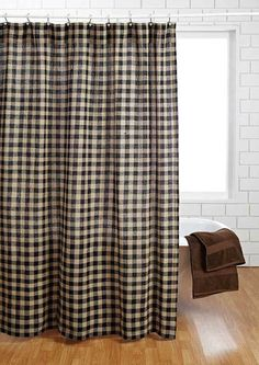 Everything Primitives - Burlap Black Check Shower Curtain, $47.95 (http://www.everythingprimitives.com/burlap-black-check-shower-curtain/)