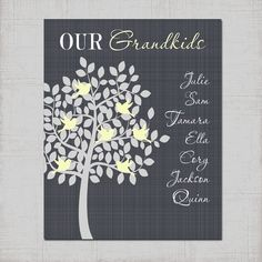 Grandparent Family Tree Wall Art CANVAS or by CleopatrasPearls