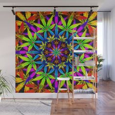 Stoners' Mandala Wall Mural by theweedartlady Weed Art, Amazing, Awesome, Wall Murals, Crisp, Vibrant Colors, Mandala, Wall Decor, Ceiling