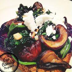roasted beet, spinach, mushroom and garlic panini
