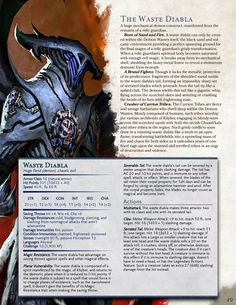 Get ready, Adaptable NPCs: Eberron is coming to the DMsGuild! The waste diabla is but one of the many foes you'll find in this tome of mechanical monstrosities. Birthed from the Demon Wastes of Khorvaire, this fiendish creature stalks the landscape,. Dungeons And Dragons Rules, Dungeons And Dragons Classes, Dnd Dragons, Dungeons And Dragons Homebrew, Dnd Stats, Dungeon Master's Guide, Dnd 5e Homebrew, Dragon Rpg, Dnd Monsters