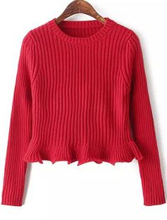Shop Red Round Neck Long Sleeve Peplum Knit Sweater online. Sheinside offers Red Round Neck Long Sleeve Peplum Knit Sweater & more to fit your fashionable needs. Free Shipping Worldwide!