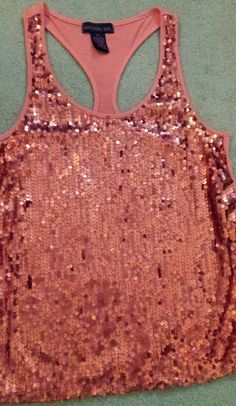 Material girl juniors sparkly orange sequin tank/cami size M in Clothing, Shoes & Accessories, Women's Clothing, Tops & Blouses | eBay