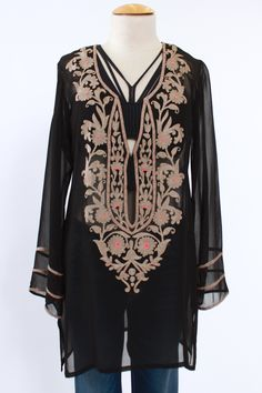 Kareena's Trends, Black Tunic with Beige Embroidery