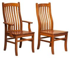 Amish Mission Arts and Crafts Chair Best selling mission style dining chair. Wavy back slats, solid wood and expert craftsmanship. Amish made in Indiana.
