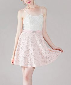 Look what I found on #zulily! Pink Lace Belted Sleeveless Dress #zulilyfinds