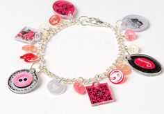 Charm Bracelet created with new products from Mod Podge. Charm Jewelry, Jewelry Crafts, Jewelry Art, Jewelry Accessories, Charm Bracelets, Jewelry Ideas, Rose Crafts, Diy Crafts, Schmuck