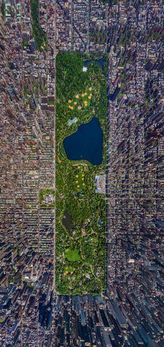 7 impresionantes registros aéreos de ciudades : Central Park - Nueva York. Imagen Cortesía de http://obviousmag.org/