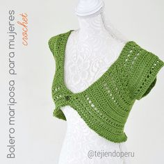#Bolero mariposa tejido a #crochet para damas en 5 tallas: XS S M L XL Paso a paso en vídeo tutorial :)