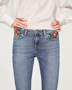 JEANS WITH EMBROIDERED POCKETS-NEW IN-WOMAN-COLLECTION AW/17 | ZARA United States