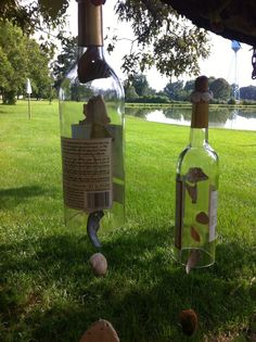 Recycled wine bottles and sea shells make cute wind chimes.