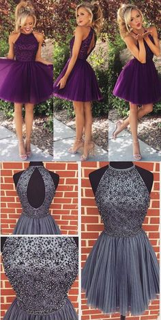 Short beaded homecoming dress,make to order,color free