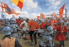 """The Duke of Norfolk's division strives to break the stubborn resistance of Oxford's troops while King Richard and his household watch from the crest of Ambion Hill behind, Bosworth 1485"""