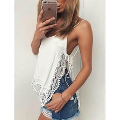 Summer Sexy Tanks Top Women White Solid Side Split Spaghetti Strap T Shirt Female Lace Tops uk Front long blusa haut femme Spandex Comf Top Mode, Elisa Cavaletti, White V Necks, Lace Design, White Lace, White Satin, Lace Trim, Ideias Fashion, Diy Clothing
