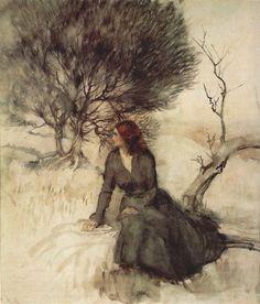 Arthur Rackham, Girl Beside a Stream