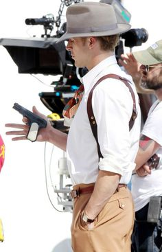 Ryan Gosling on the set of Gangster Squad (2013)