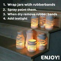 DIY Mason Jar lights - just wrap a yarn design around the jar before painting . so, once you add a candle or solar bulb, the light will shine through! Can also put stickers or rubber bands around the jar before painting to make designs! Pot Mason Diy, Diy Mason Jar Lights, Mason Jar Lighting, Mason Jar Crafts, Diy Jars, Solar Mason Jars, Diy Projects With Mason Jars, Reuse Jars, Mason Jar Lanterns