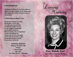 Loved One Passed: Free Microsoft Office Funeral Service Or Obituary  Templates  Funeral Program Template Free